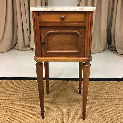 Early 20C French Walnut Nightstand with Marble Top