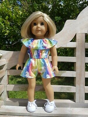Rainbow Unicorn Summer Romper Playsuit fits Our Generation or American Girl Doll