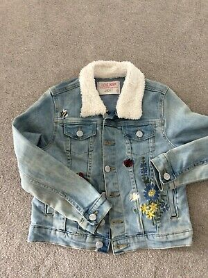 Girls Denim Jacket age 9 years with fleece collar and floral detail