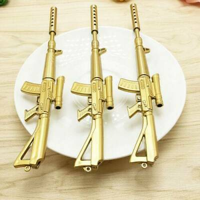 Gold Rifle Shape Black Ink Ballpoint Pen Stationery Office Ball Point Cool NEW~