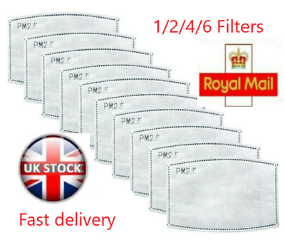 UK Face Cover PM2.5 Activated Carbon Filter Replace Breath Insert Mask Filter