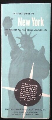 1958 New York City Visitors Guide Foldout Brochure Map.