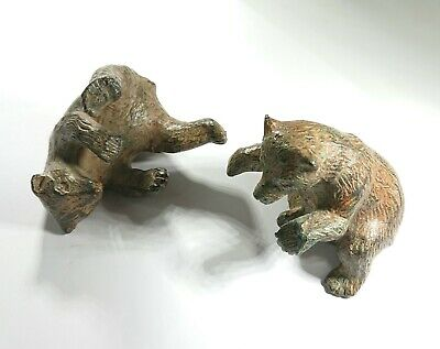 Charming Vintage Pair of Signed French Patinated Bronze Bears, Pierre Chenet