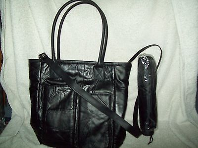 Ladies black leather handbag or shoulder bag with umbrella & free purse