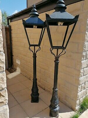 Pair of Vintage DW Windsor cast iron lamp posts