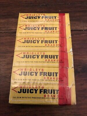 Vintage NOS 1958 WRIGLEY'S JUICY FRUIT 6 PACK, CELLOPHANE WRAPPED, MINT