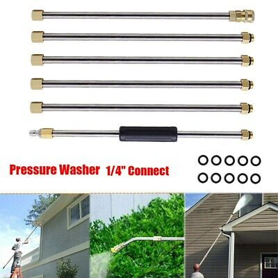 """6PC Pressure Washer Extendable Rod Gutter Cleaning Attachment 1/4"""" Quick Release"""