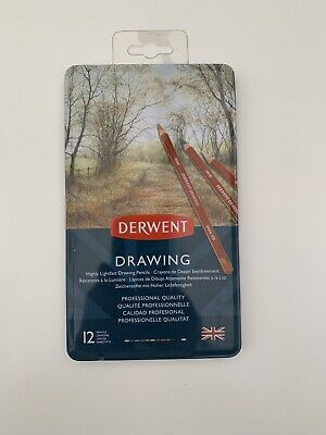 Derwent Drawing 12 Tin Set of Assorted Professional Quailty Pencils - NEW