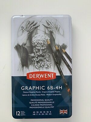 Derwent Graphic Pencils 12 Tin - Drawing & Sketching Soft, Medium or Hard Set