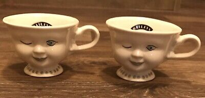 Set Of 2 Bailey's Tea Cups With Cute Faces - Marked & Signed