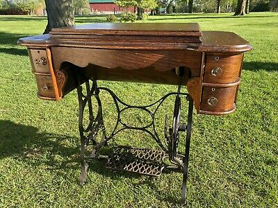 New Royal Treadle Sewing Machine With Shuttles, Bobbins And Accessories