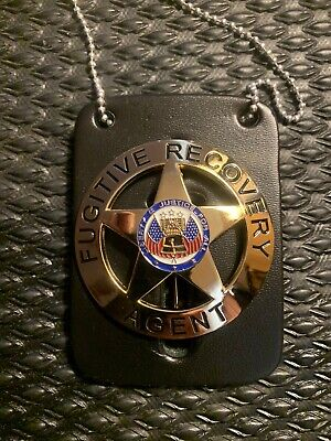 Fugitive Recovery Agent Badge Leather Neck Chain Dog The Bounty Hunter