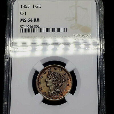 1853 MS64 RB Red Brown C-1 Braided Hair Half Cent 1/2C, NGC Graded