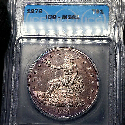 1876-P MS61 Trade Silver Dollar $1, ICG Graded, Nicely Toned & Prooflike Obverse