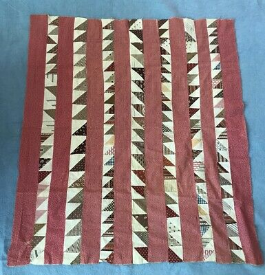 """Quilt Top Early 1900's Antique Hand Stitched Vintage Pattern Cotton 43"""" x  40"""""""