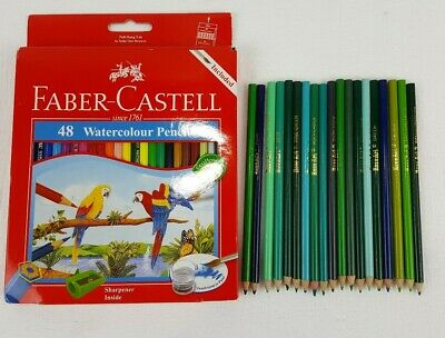 Faber-Castell 48 Watercolour Pencils Brush & Pencil Sharpener + 19 Bonus Pencils