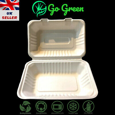 "Clamshell Biodegradable & Compostable Bagasse  Hinged Meal Boxes 9"" X 6"""