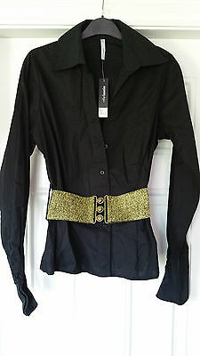 ETHEL AUSTIN Black fitted Stretch Shirt. Wide Gold Stretch Belt. Brand New. s 12