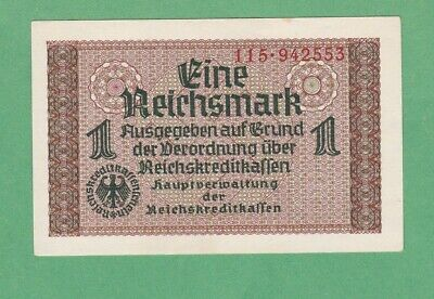 Germany  1 Reichsmark  Notes  P-R136b   ABOUT UNCIRCULATED+