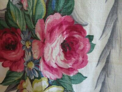 Vintage 1940's Glencourt BARKCLOTH Drapes Fabric  PINK ROSES on Creamy White