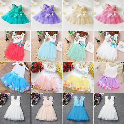 Flower Lace Baby Girls Princess Tutu Tulle Dress Birthday Party Clothes Summer