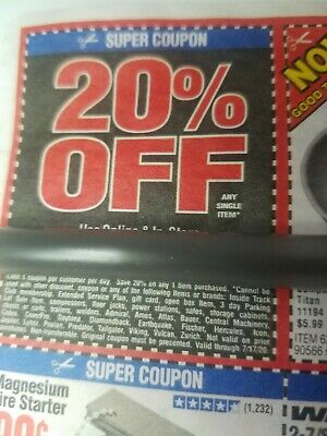 Harbor Freight 20% Off Super coupon Home Depot Lowe's Exp 7/17/20! ENTIRE SHEET!