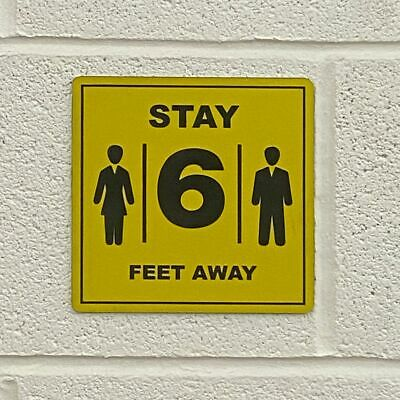 "6"" x 6"" Engraved Plastic Sign - Stay 6' Away"