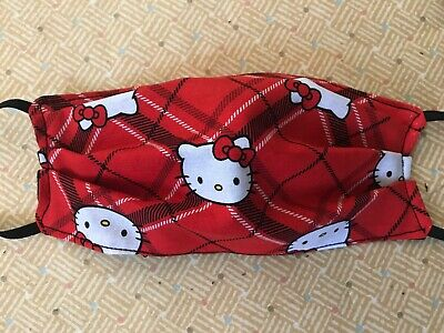Red Plaid Hello Kitty Handmade Face Mask Adult Size 3 layer fabric Sanrio