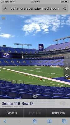 2 Tickets Baltimore Ravens vs Dallas Cowboys Section 119 Row 14 End of Row