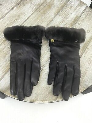 UGG Women's Genuine Dyed Shearling Trimmed Leather Gloves In Brown Size M