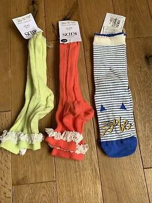 BNWT 3 Pairs  Marks & Spencer Girls Socks UK Shoe Size 4 - 7 - EU 37 - 40.5