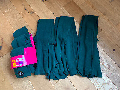 BNWT 6 Pairs  Marks & Spencer Green School Tights UK age 11 - 12 EU 152 Cm