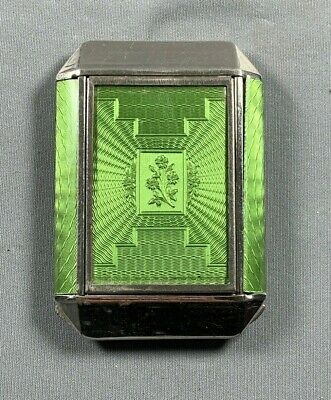 Vtg Zell Celluloid Guilloche Style Compact Green & Silvertone