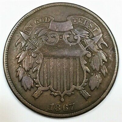 1867 Two Cent Piece Beautiful High Grade Coin Rare Date
