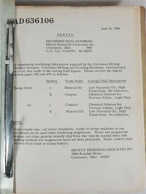 Logistics Machining Data US Army Material Command May 1966 AMCP 700-1