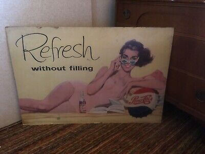 Advertising Sign Pepsi Cola Two Sided Original Pinup Girl Vintage Soda Large