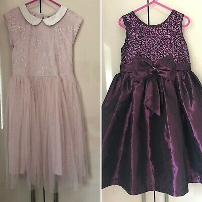 2 x party occasion dresses from Jane Copeland (plum) and NEXT (pink) age 6