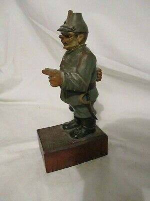 Old Antique Carved Wood Figurine Soldier Wooden Signed Germany 7 1/2""