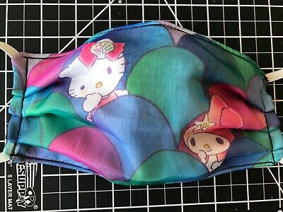 Hello Kitty and My Melody Handmade Face Mask Adult Size 3 layer fabric Sanrio