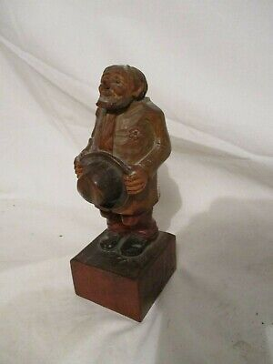 Old Antique Carved Wood Figurine Old Man Wooden Signed Germany 6 5/8""