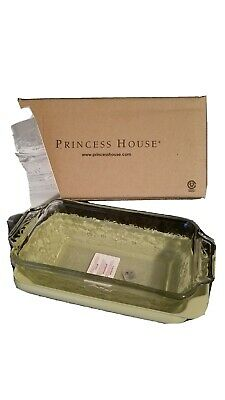 Sparkling  Princess House Fantasia Seal Tight Glass Loaf Pan Mint in Box 901
