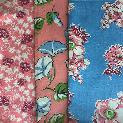 """Vintage Partial Feed Sack Lot of 3 Pink and Blue Backgrounds each app 20"""" x 18"""""""