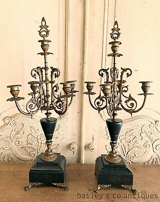 Antique Pair French Candelabra Marble Bronze Gilt Napoleon III Style - RF539