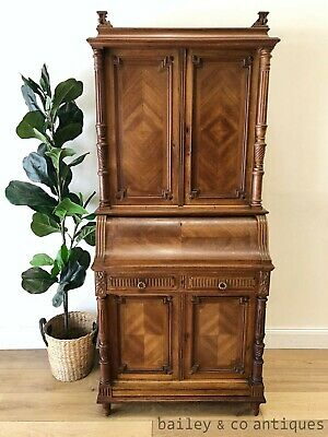 Antique French Secrétaire Desk Walnut Inlaid Gallery Top  - RF158