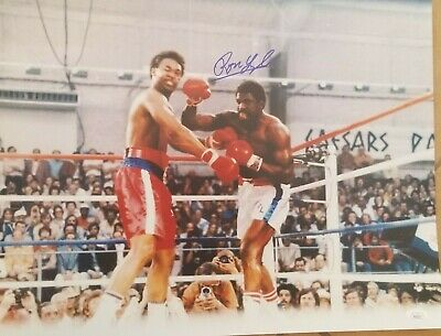 Ron Lyle signed 16x20 vs George Foreman 1976 Fight of the Year JSA COA
