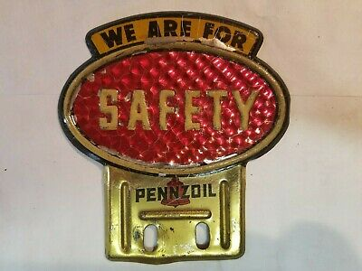 Original Vintage Pennzoil Safety License Plate Topper Gas Station Sign Oil can