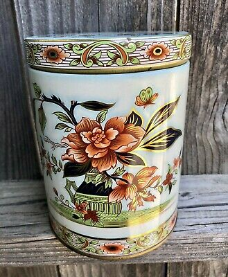 Vintage Floral Tin Container Flowers  Daher of Long Island NY Made in England
