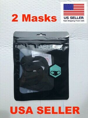 Black polyester cover for face (pack of 2) anti dust USA SELLER 🇺🇸🇺🇸🇺🇸