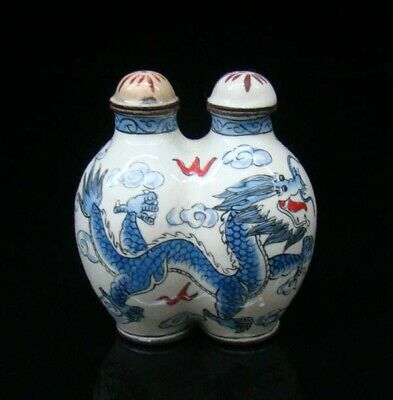 100% Handmade Painting Cloisonne Copper Snuff Bottles Dragon  2PCS Conjoined