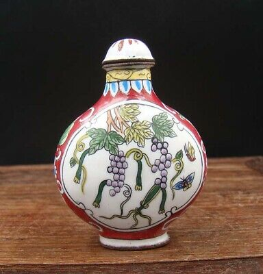 Collectible 100% Handmade Painting Copper Cloisonne Snuff Bottles Grape